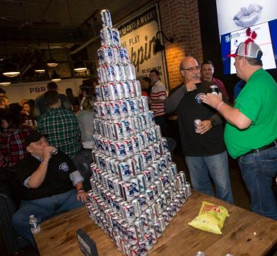 PBR beer can pyramid